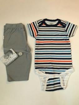 NWT Gerber Striped Onesie 0 To 3 Months With Gray Pants
