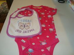 ONESIES  12 m BABY GIRL SALMON COLOR /BIRDS ON A TREE LIMB