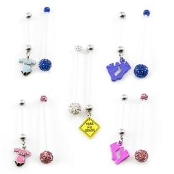 Pair of Pregnancy Belly Button Ring with Bioflex Shaft and F