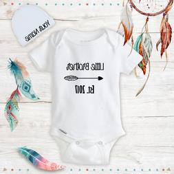 Personalized Little Brother Baby Boy Onesies with Hat Set Ne