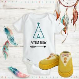 Personalized Name Boho Teepee Onesies & Yellow Shoes Baby Sh