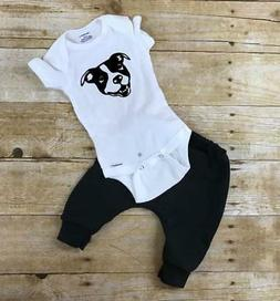 Pitbull pants and onesie infant or toddler outfit