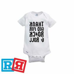 Thank God For Rock & Roll Baby Onesie AC/DC Style Romper Ger